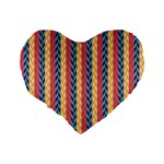 Colorful Chevron Retro Pattern Standard 16  Premium Flano Heart Shape Cushions Back
