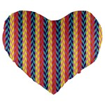Colorful Chevron Retro Pattern Large 19  Premium Flano Heart Shape Cushions Front