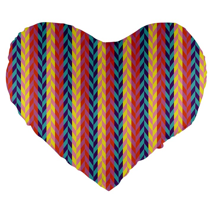 Colorful Chevron Retro Pattern Large 19  Premium Flano Heart Shape Cushions