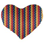Colorful Chevron Retro Pattern Large 19  Premium Flano Heart Shape Cushions Back