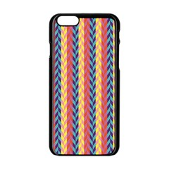 Colorful Chevron Retro Pattern Apple iPhone 6/6S Black Enamel Case