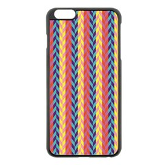 Colorful Chevron Retro Pattern Apple iPhone 6 Plus/6S Plus Black Enamel Case