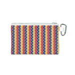 Colorful Chevron Retro Pattern Canvas Cosmetic Bag (S) Back