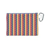 Colorful Chevron Retro Pattern Canvas Cosmetic Bag (M) Back