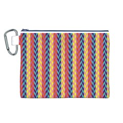 Colorful Chevron Retro Pattern Canvas Cosmetic Bag (L)