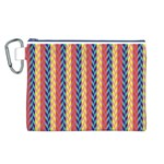 Colorful Chevron Retro Pattern Canvas Cosmetic Bag (L) Front