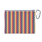 Colorful Chevron Retro Pattern Canvas Cosmetic Bag (L) Back