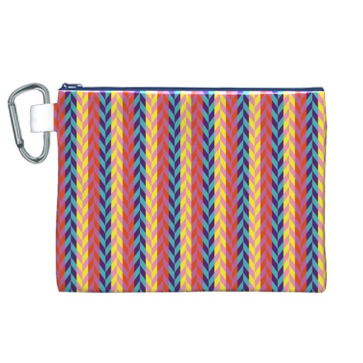 Colorful Chevron Retro Pattern Canvas Cosmetic Bag (XL)