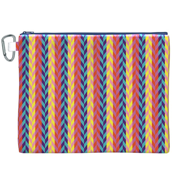 Colorful Chevron Retro Pattern Canvas Cosmetic Bag (XXXL)