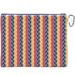 Colorful Chevron Retro Pattern Canvas Cosmetic Bag (XXXL) Back