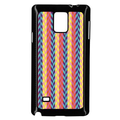 Colorful Chevron Retro Pattern Samsung Galaxy Note 4 Case (Black)
