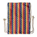 Colorful Chevron Retro Pattern Drawstring Bag (Large) Front