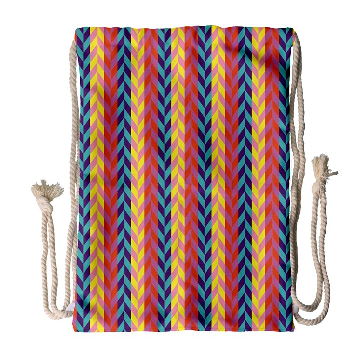 Colorful Chevron Retro Pattern Drawstring Bag (Large)