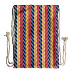 Colorful Chevron Retro Pattern Drawstring Bag (Large) Back