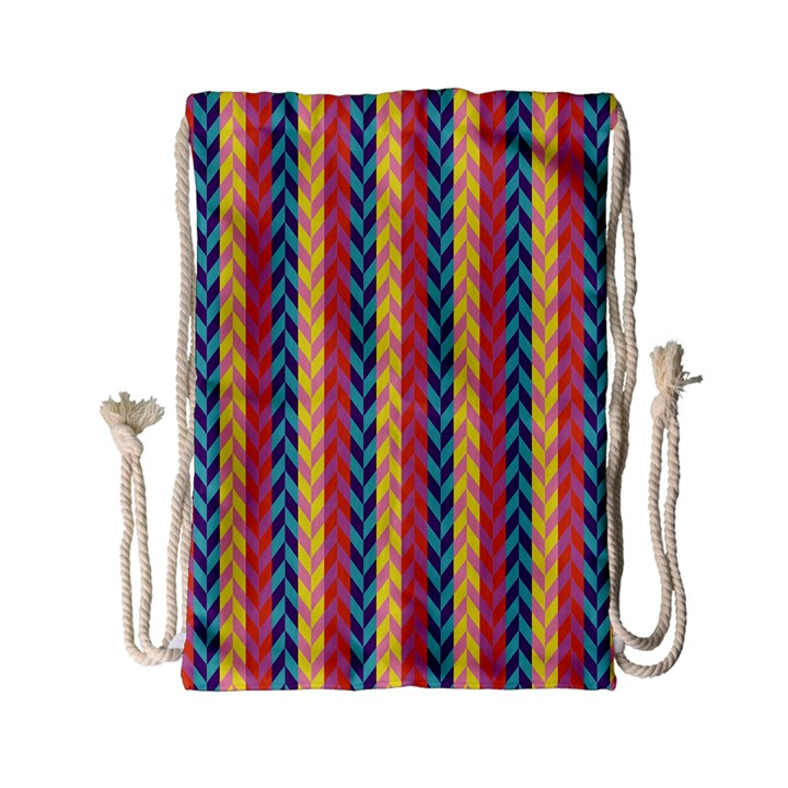 Colorful Chevron Retro Pattern Drawstring Bag (Small)