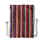 Colorful Chevron Retro Pattern Drawstring Bag (Small) Back