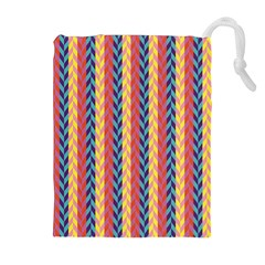 Colorful Chevron Retro Pattern Drawstring Pouches (Extra Large)