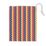 Colorful Chevron Retro Pattern Drawstring Pouches (Extra Large) Front