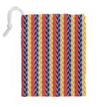 Colorful Chevron Retro Pattern Drawstring Pouches (Extra Large) Back