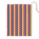 Colorful Chevron Retro Pattern Drawstring Pouches (XXL) Front