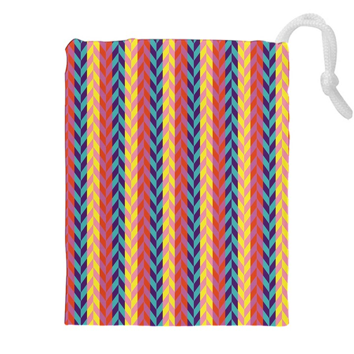 Colorful Chevron Retro Pattern Drawstring Pouches (XXL)