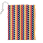Colorful Chevron Retro Pattern Drawstring Pouches (XXL) Back