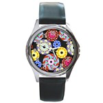 Colorful Retro Circular Pattern Round Metal Watch Front