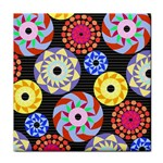 Colorful Retro Circular Pattern Tile Coasters Front