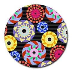 Colorful Retro Circular Pattern Round Mousepads