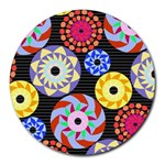Colorful Retro Circular Pattern Round Mousepads Front