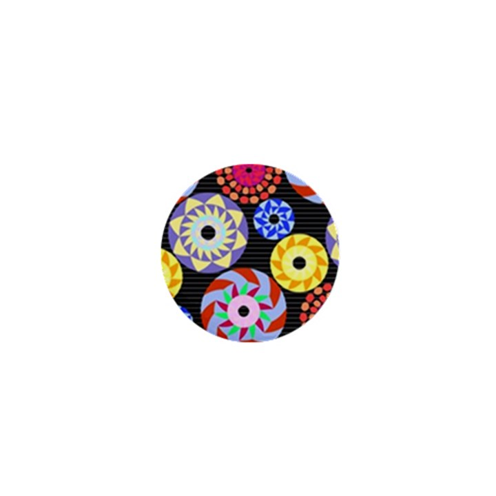 Colorful Retro Circular Pattern 1  Mini Buttons