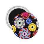 Colorful Retro Circular Pattern 2.25  Magnets Front
