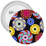 Colorful Retro Circular Pattern 3  Buttons Front