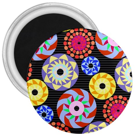 Colorful Retro Circular Pattern 3  Magnets