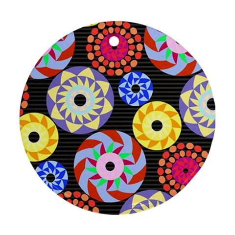 Colorful Retro Circular Pattern Ornament (Round)