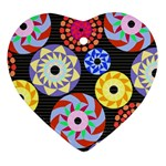 Colorful Retro Circular Pattern Ornament (Heart)  Front