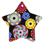 Colorful Retro Circular Pattern Ornament (Star)  Front