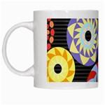 Colorful Retro Circular Pattern White Mugs Left
