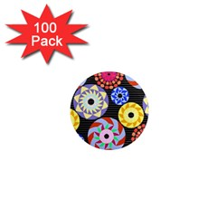 Colorful Retro Circular Pattern 1  Mini Magnets (100 pack)