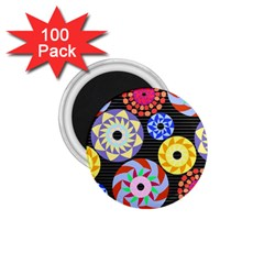 Colorful Retro Circular Pattern 1 75  Magnets (100 Pack)