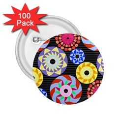 Colorful Retro Circular Pattern 2.25  Buttons (100 pack)