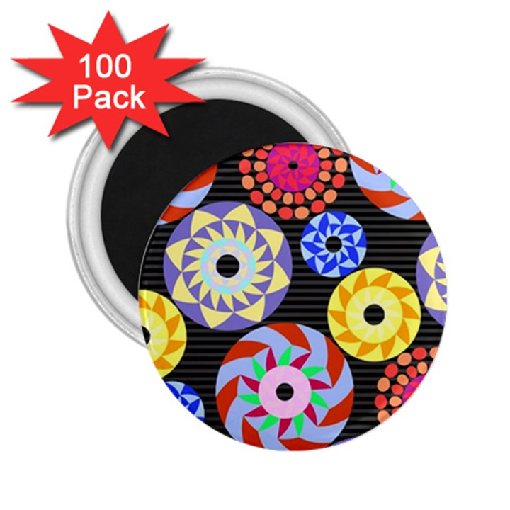 Colorful Retro Circular Pattern 2.25  Magnets (100 pack)