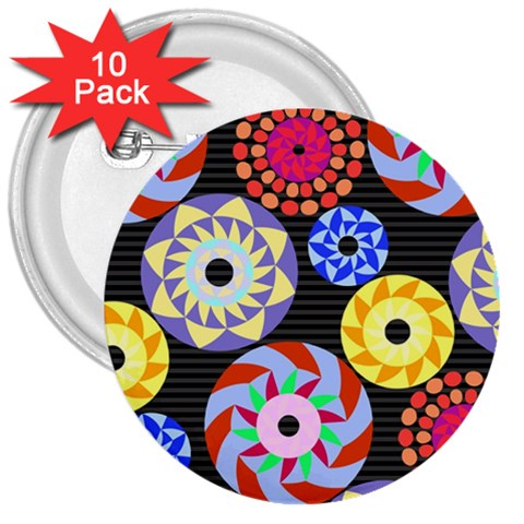 Colorful Retro Circular Pattern 3  Buttons (10 pack)