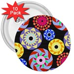 Colorful Retro Circular Pattern 3  Buttons (10 pack)  Front
