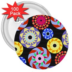 Colorful Retro Circular Pattern 3  Buttons (100 pack)