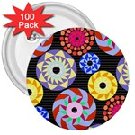 Colorful Retro Circular Pattern 3  Buttons (100 pack)  Front