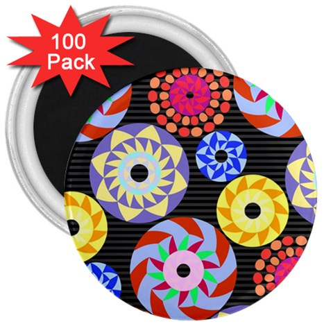 Colorful Retro Circular Pattern 3  Magnets (100 pack)
