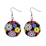 Colorful Retro Circular Pattern Mini Button Earrings Front