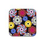 Colorful Retro Circular Pattern Rubber Coaster (Square)  Front