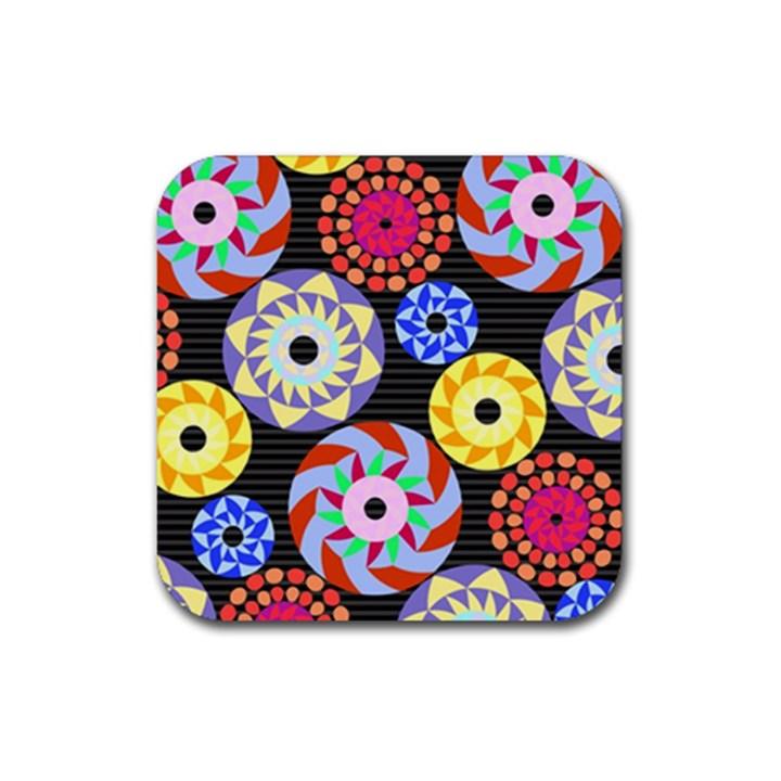 Colorful Retro Circular Pattern Rubber Coaster (Square)
